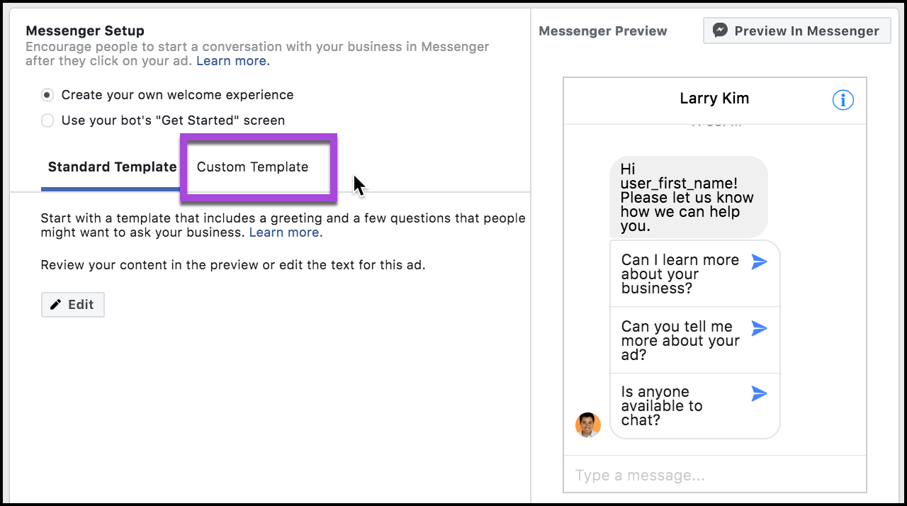 custom-template-messenger