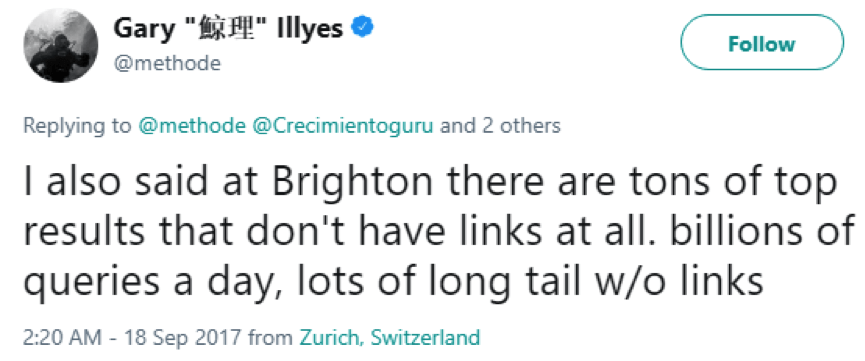 Gary Illyes' Tweet: For some results, links aren't a factor at all