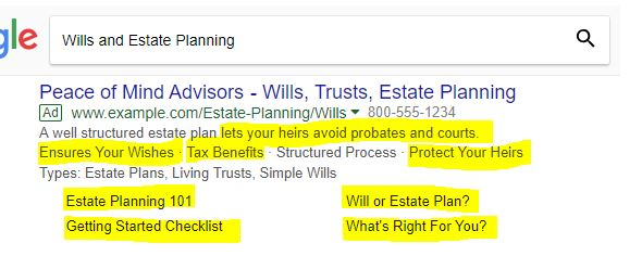 Estate Planning PPC Ad Example