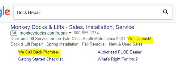 Dock Repair PPC Ad Example