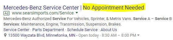 Auto Support PPC Ad Example - No Appointment Needed