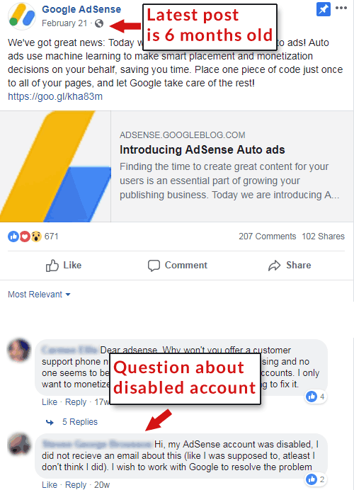 Screenshot of official AdSense Facebook page