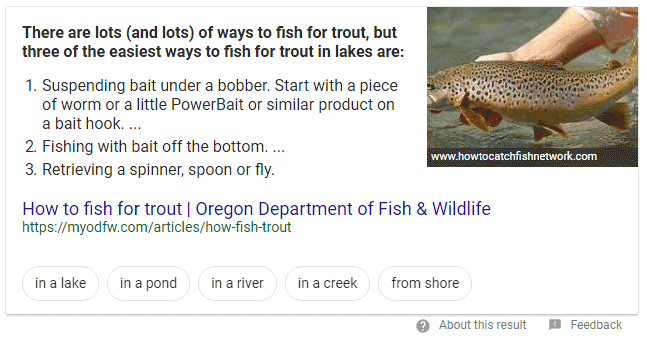 Featured snippets featuring Google Suggest navigational buttons.