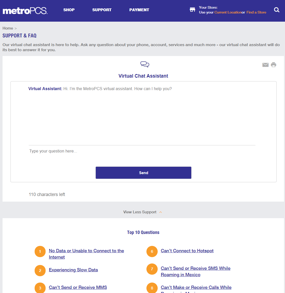 metropcs faqs section