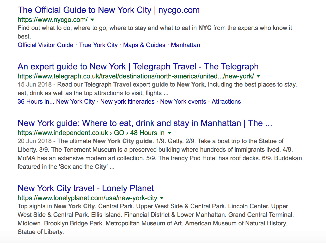 New York City Guide SERPs
