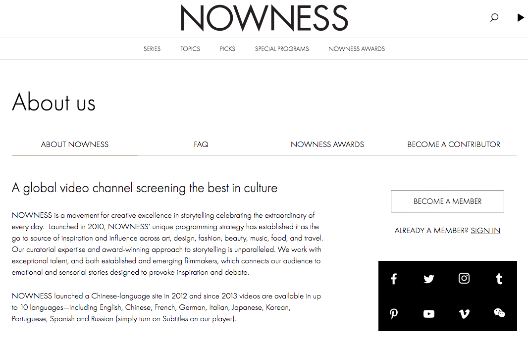 NOWNESS About Us page