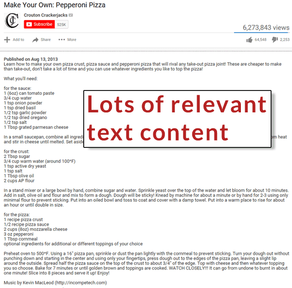 Image of a YouTube video page with textual content that is relevant to the content of the video