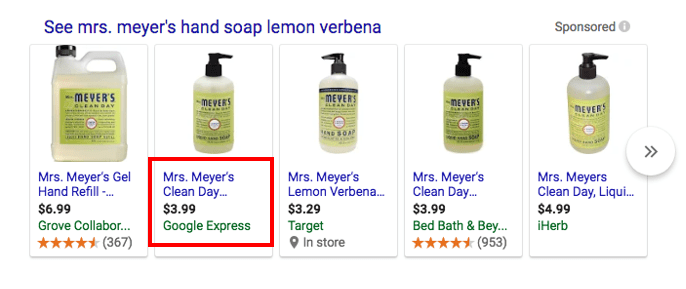 Google Express Sponsored Unit on Search