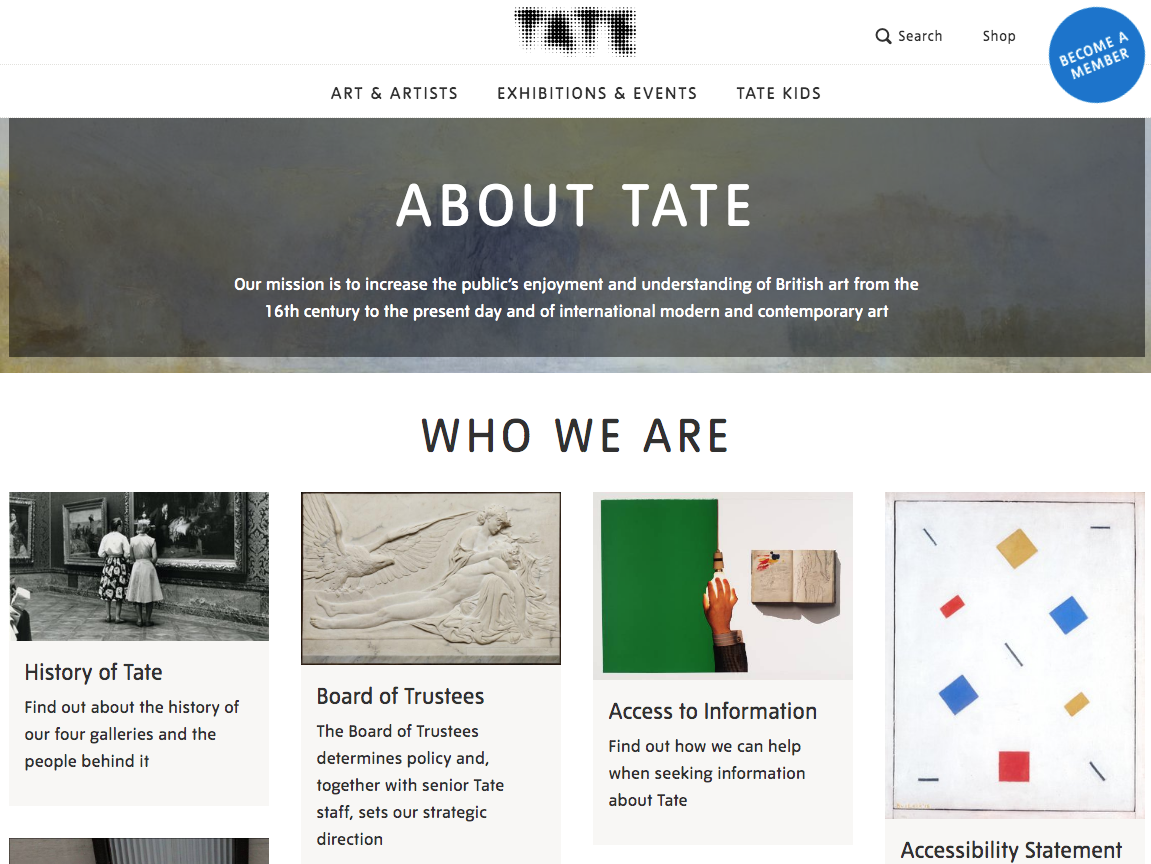 Tate About Us page