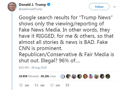 Screenshot of a tweet by Donald Trump threatening to regulate Google search results.