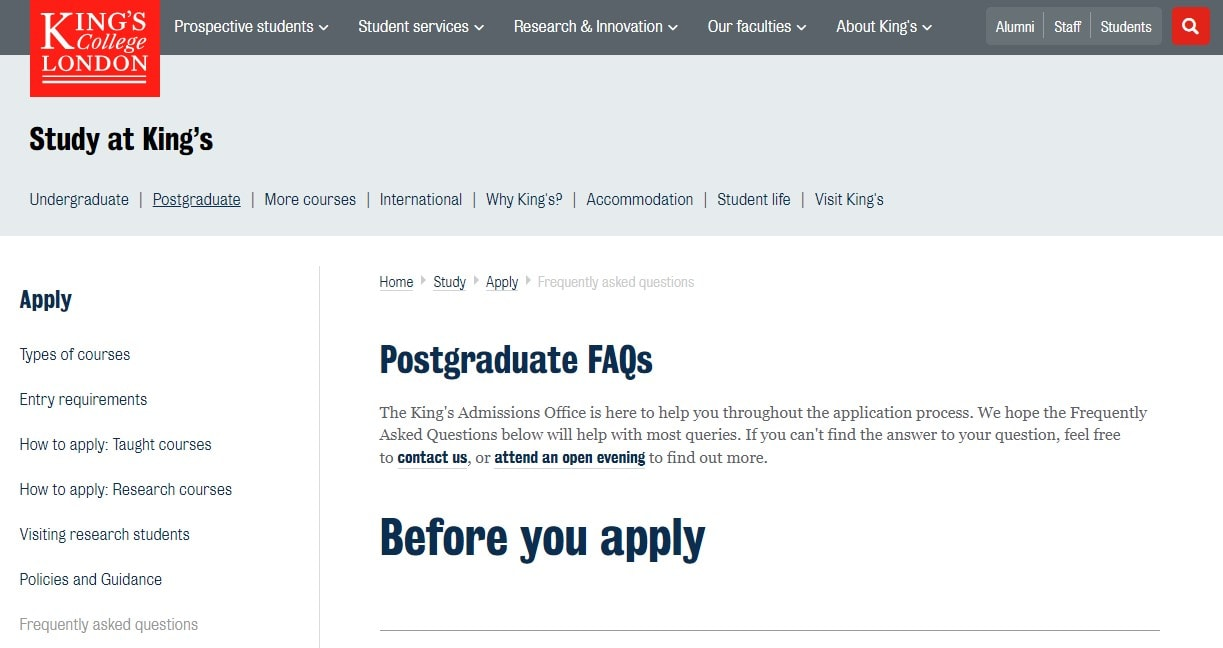 King's College London FAQs