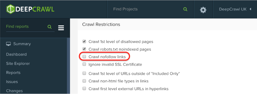 DeepCrawl crawl restrictions