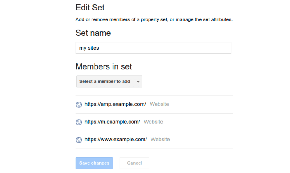 Search COnsole property set