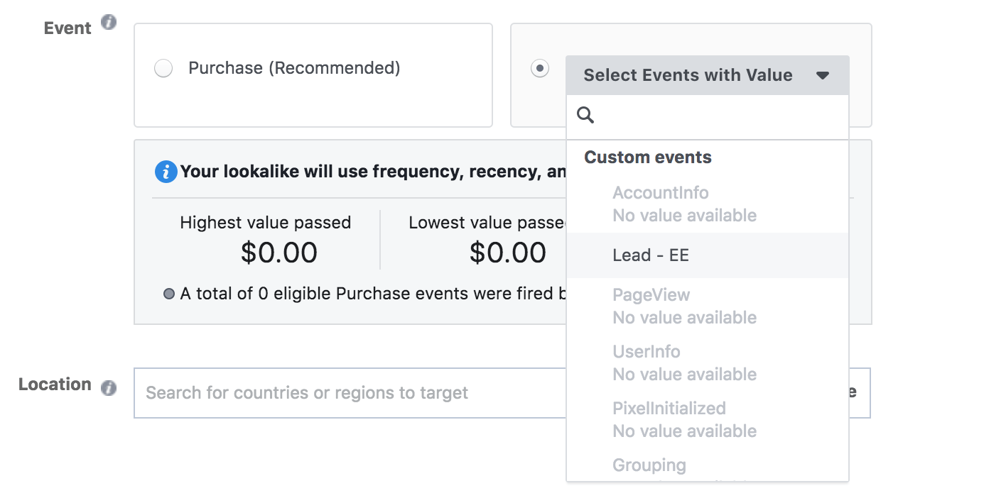 Create Facebook Custom Audiences from Pixel Events