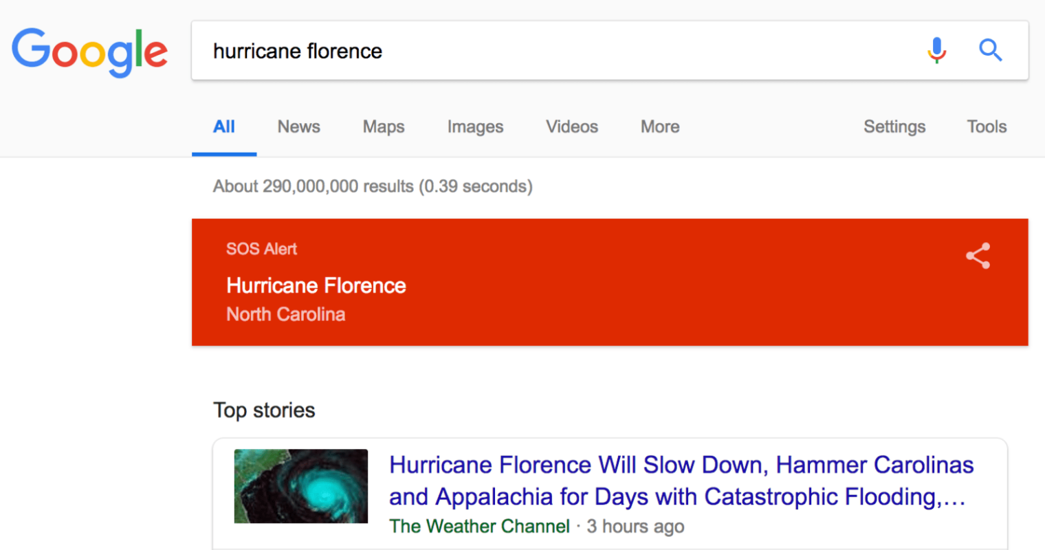 Google Search Activates SOS Alert for Hurricane Florence