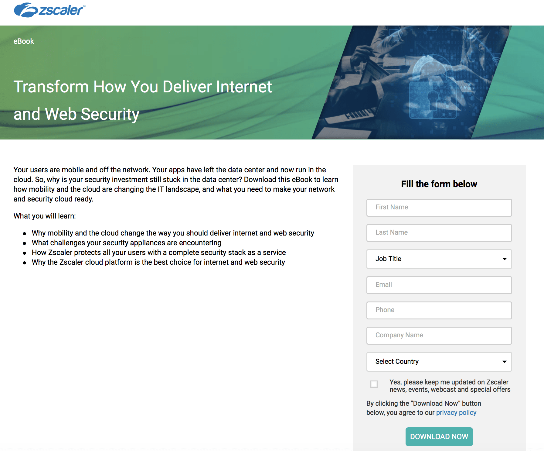 Zscaler PPC landing page