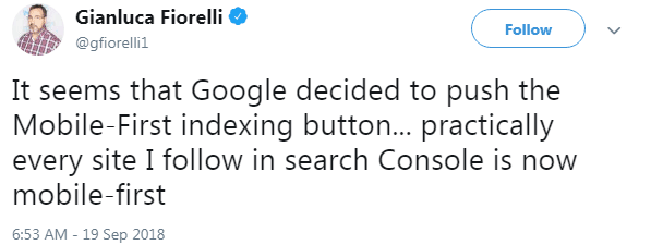 Screenshot of a tweet by Gianluca Fiorelli about increase in mobile index inclusion notifications from Google Search Console.