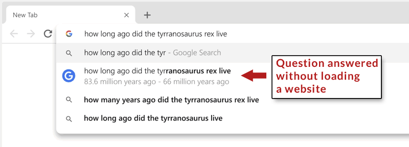 Screenshot of Chrome's Omnibox aka address bar with an answer to a question