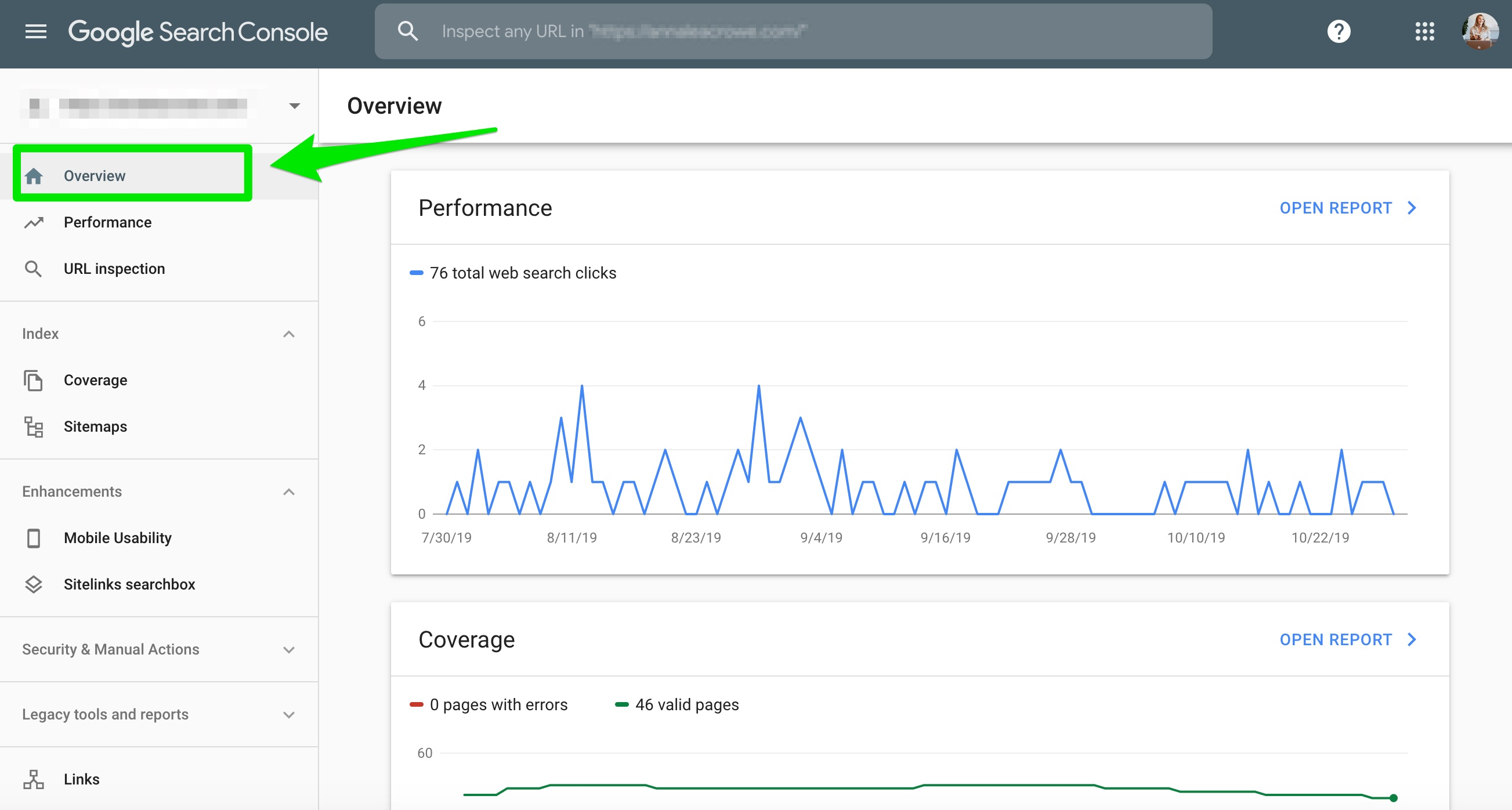overview report google search console