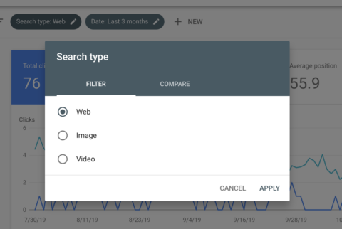 performance report filters google search console