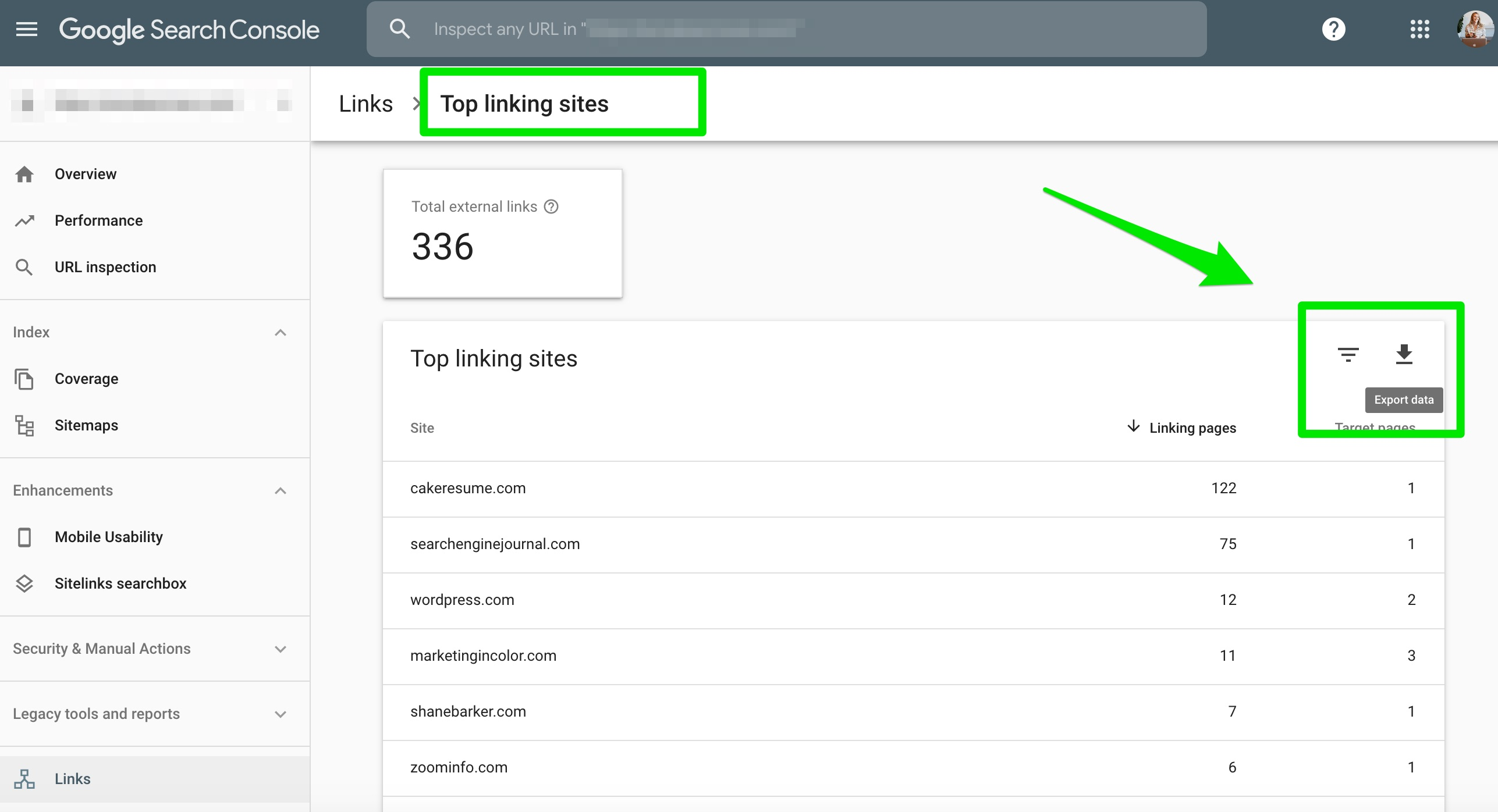 top linking sites google search console