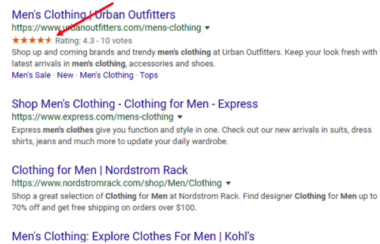 Sample review ratings in the serps