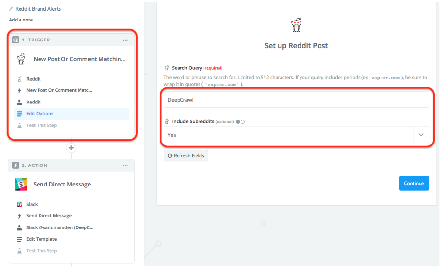 Set up Reddit post Zapier