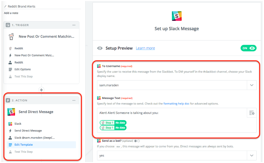 Set up Slack Message Zapier