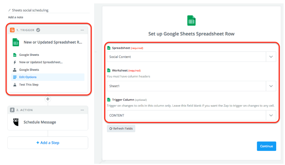 Google Sheets Spreadsheet Row Zapier
