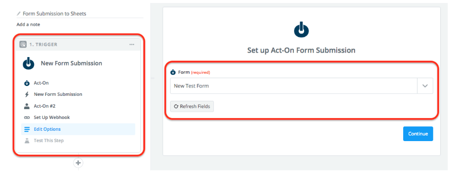 Act-on form submission