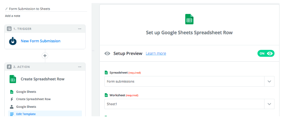 Sheets Spreadsheet Row Zapier