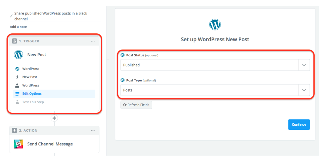 WordPress New Post Zapier