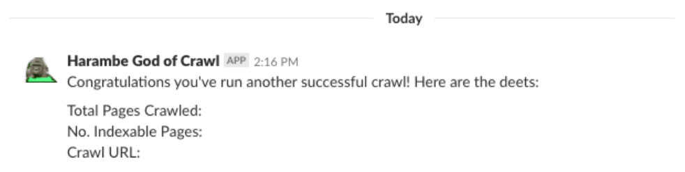 DeepCrawl Slack notification