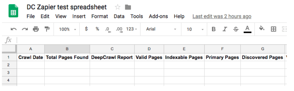 Crawl Metrics Sheet