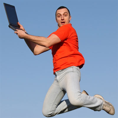 A humorous but otherwise meaningless stock image of a man jumping.