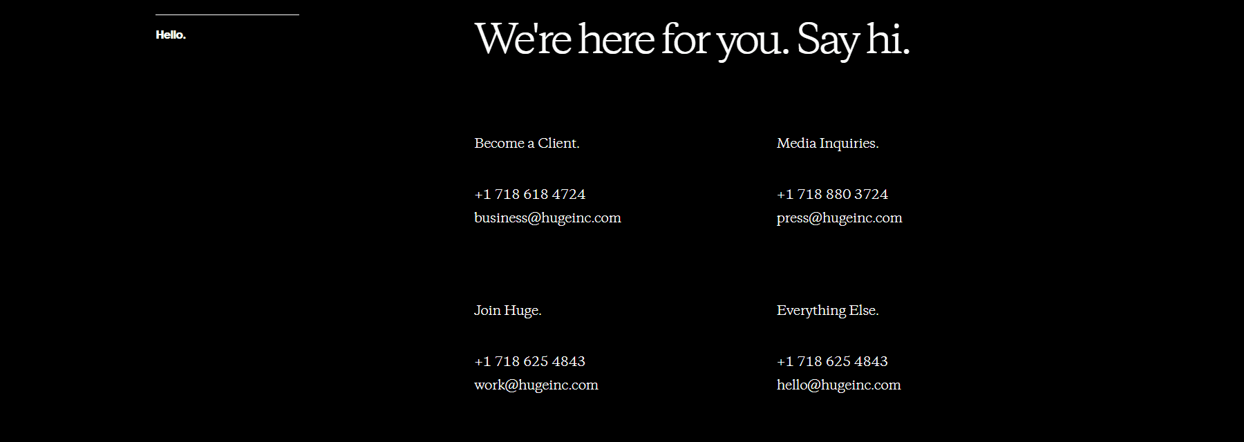 hugeinc second screen of the contact us page
