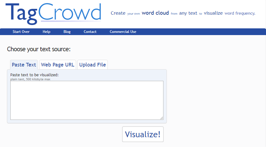 TagCrowd - keyword research tool screenshot