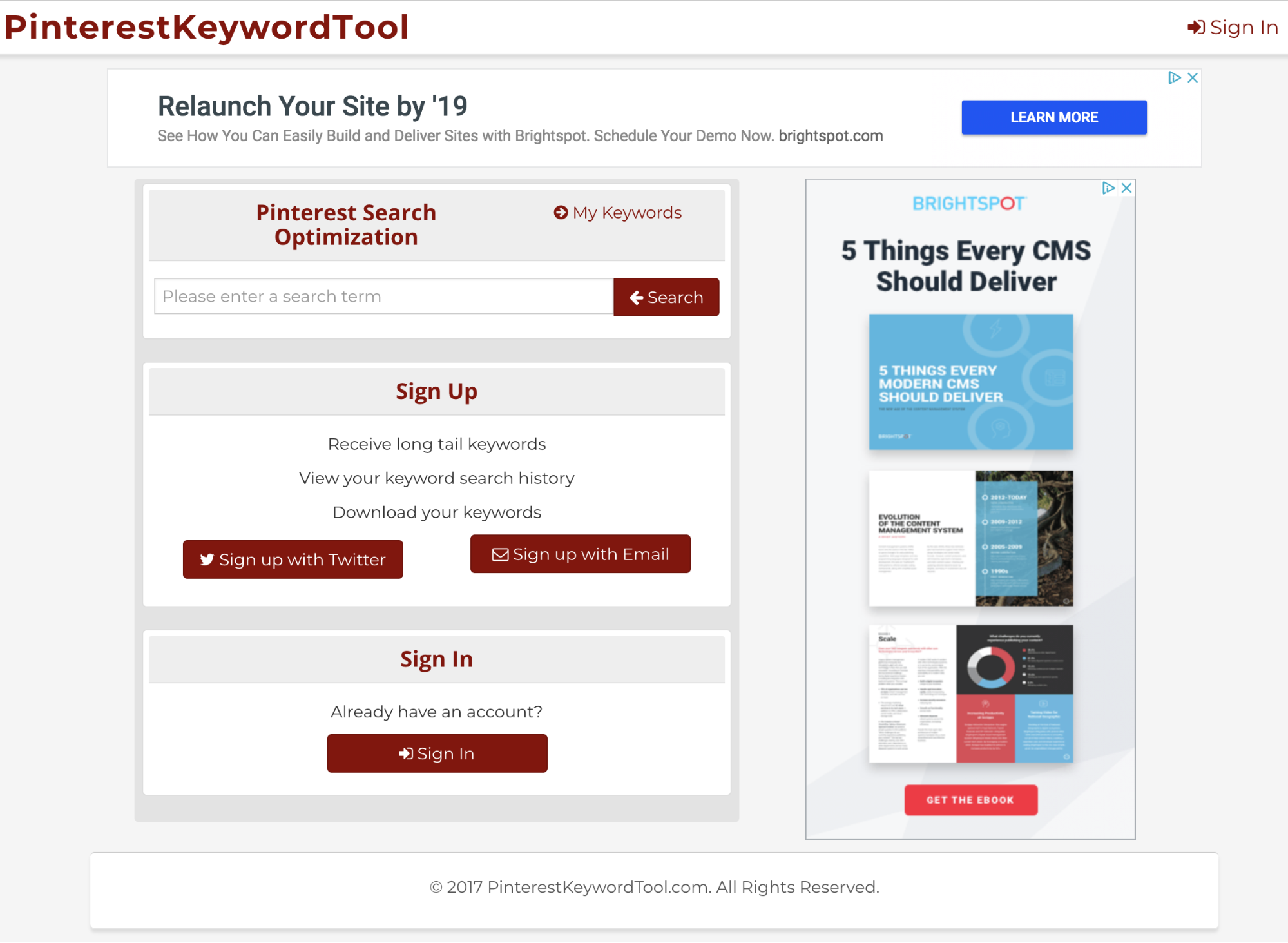 Pinterest Keyword Tool - keyword research tool screenshot