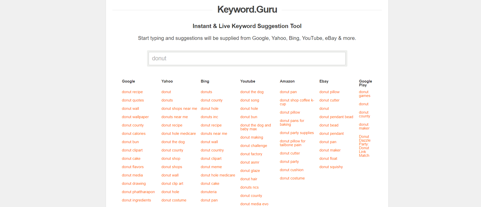 Keyword Guru - keyword research tool screenshot