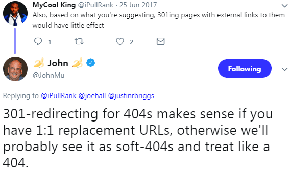 Screenshot of John Mueller on Twitter answering why Google will or will not pass PageRank in 301 redirects