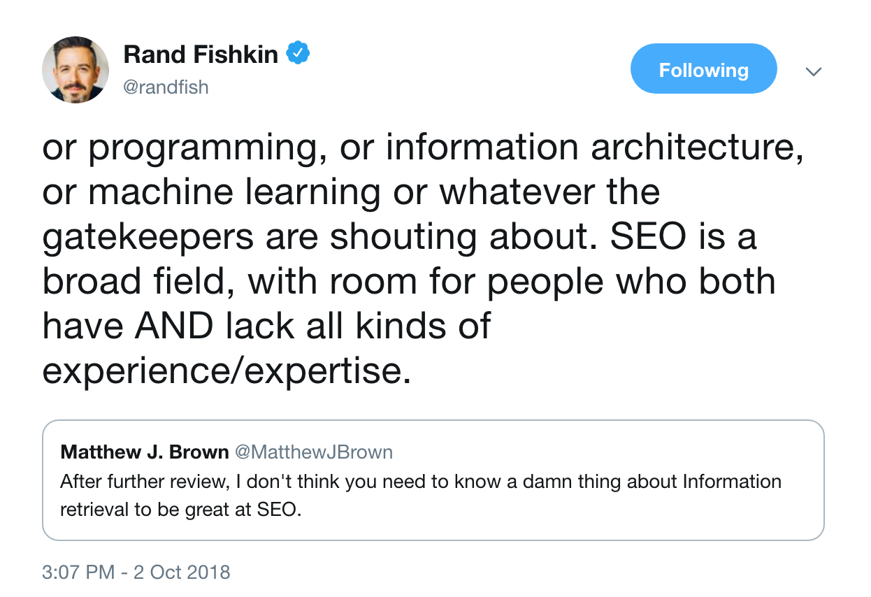 Rand Fishkin's Tweet Regarding SEO experience/expertise