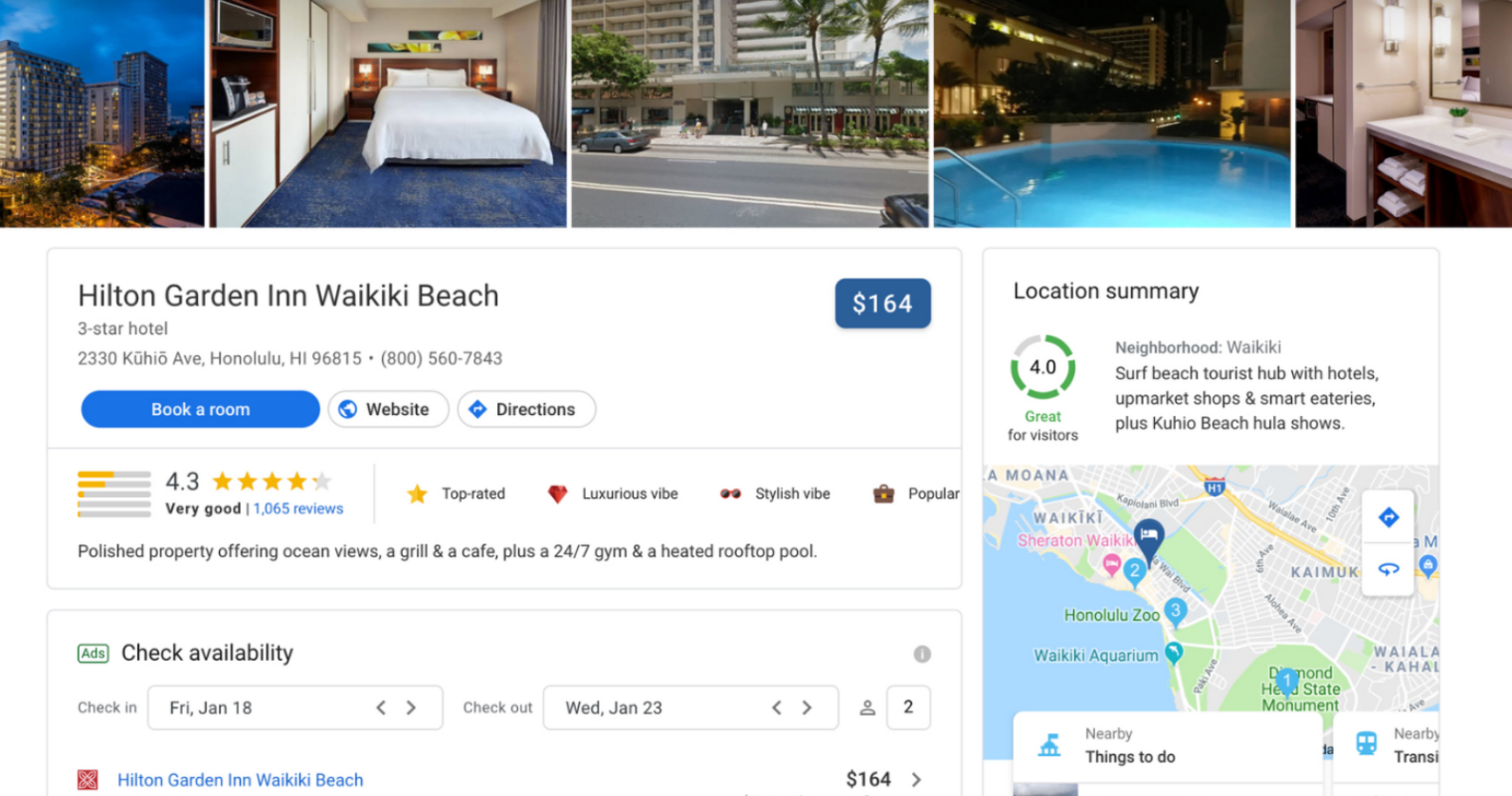 Google Redesigns the Hotel Search Experience on Desktop