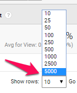 Display number of rows in Google Analytics