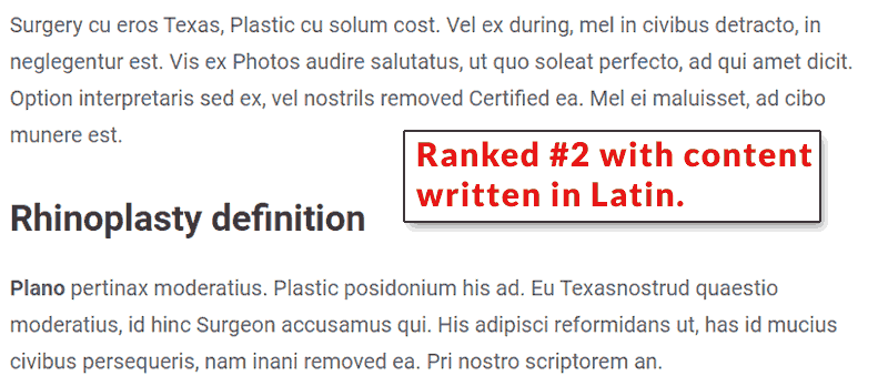 Screenshot of a web page written in the Latin language.