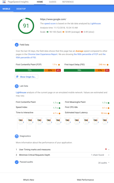 Google PageSpeed Insights Offers New Performance Metrics Analyzed by Lighthouse