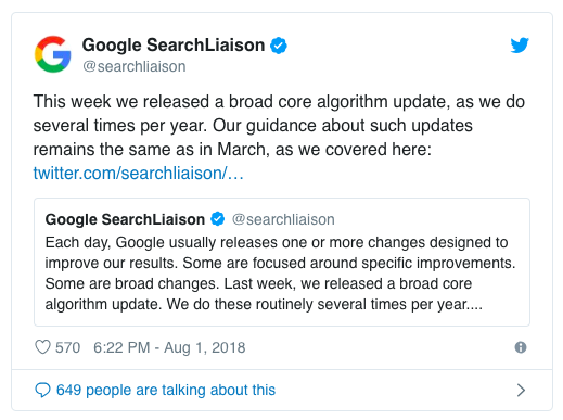 Google Medic update announcement