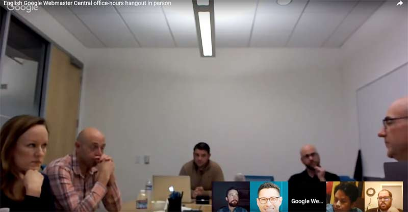 Screenshot of a webmaster hangout featuring Google's John Mueller
