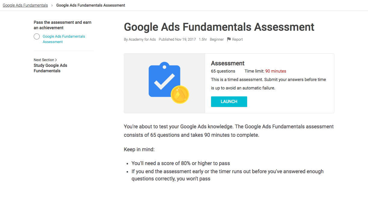 Google Ads Fundamentals Assessment