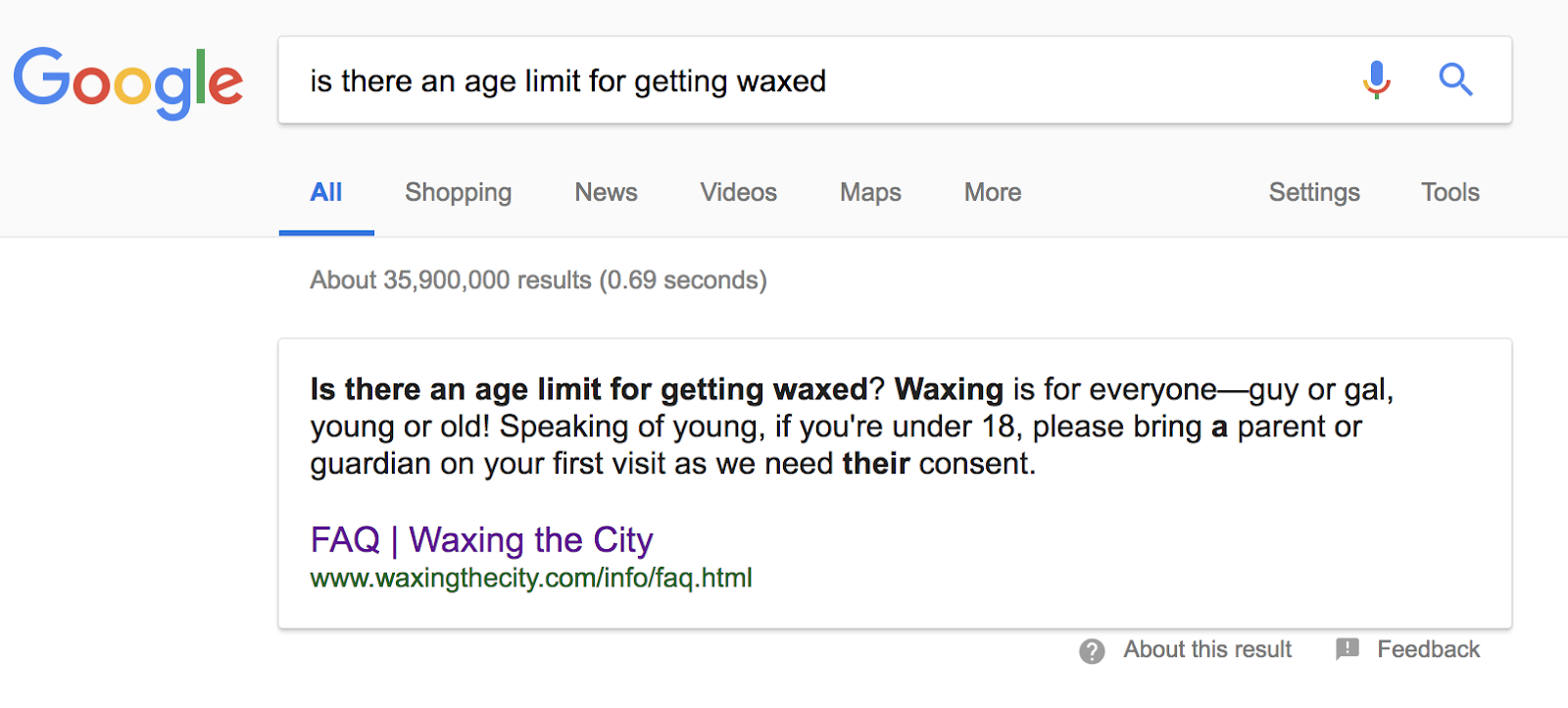 Waxing in the City FAQ Page - Featured Snippet