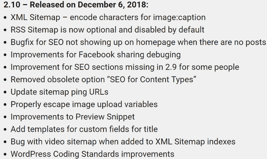 Screenshot of All in One SEO Pack Changelog of most recent update